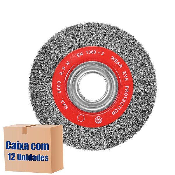 Caixa com 12 Escova Rotativa Ondulada D150 Aço 030 A25 R51 150 x 25 x 51 mm