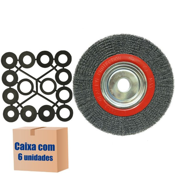 Caixa com 6 Escova Rotativa Ondulada D250 Aço 040 A25 R100 250 x 25 x 100 mm