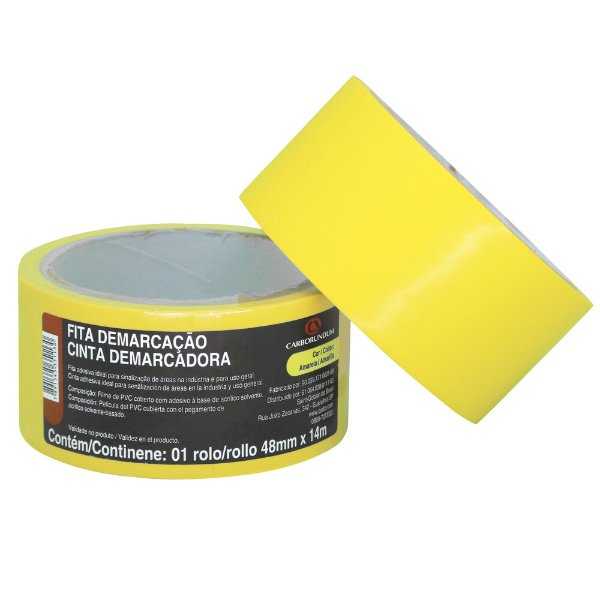 Caixa com 10 Fita PVC Amarela Demarcação Solo e Sinalização 48 x 14 m