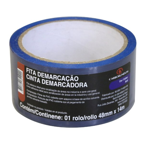 Caixa com 10 Fita PVC Azul Demarcação Solo e Sinalização 48 x 14 m