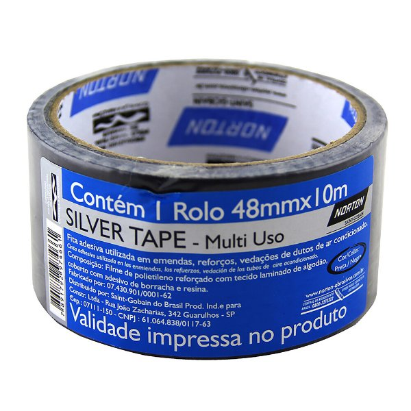 Caixa com 10 Fita Silver Tape Preta 48 x 10 m