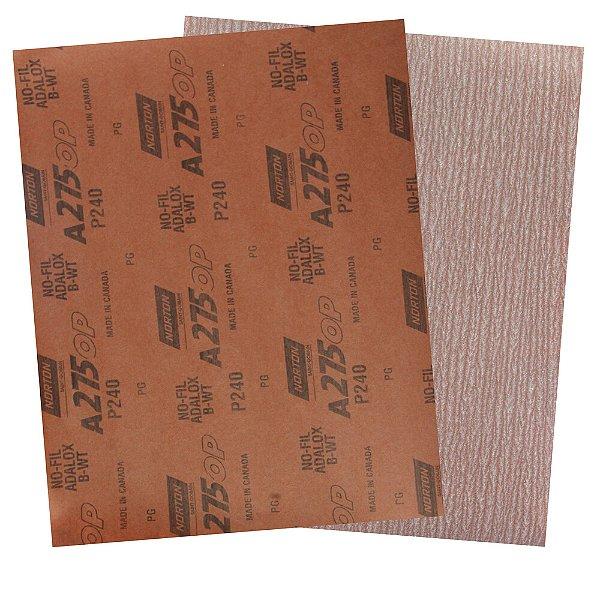 Pacote com 200 Folha de Lixa A275 Grão 240 230 x 280 mm