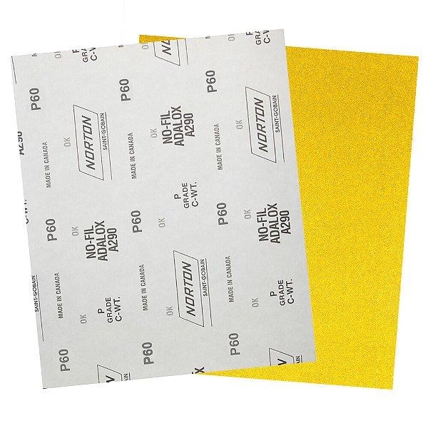 Pacote com 200 Folha de Lixa A290 Nofil Grão 60 230 x 280 mm