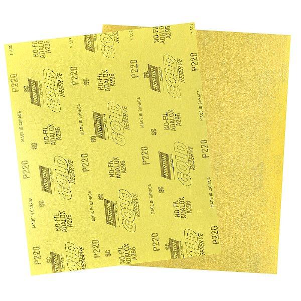 Folha de Lixa A296 Gold Grão 220 230 x 280 mm Pacote com 200