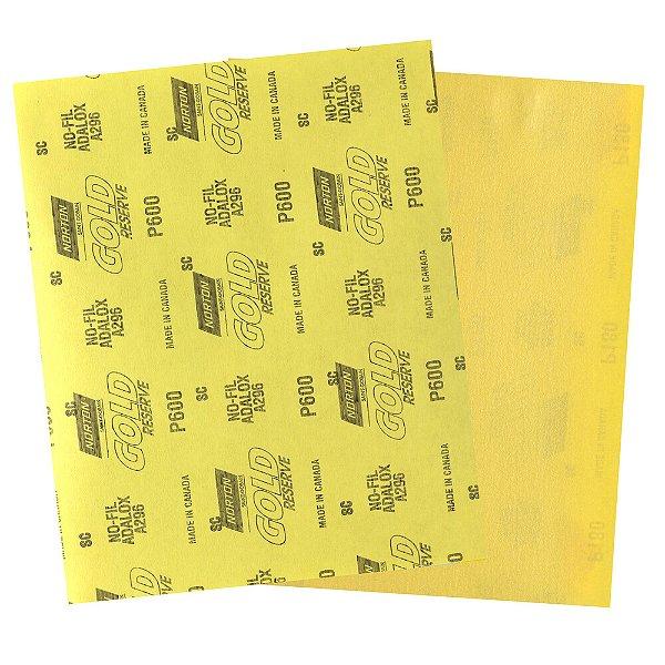 Folha de Lixa A296 Gold Grão 600 230 x 280 mm Pacote com 200