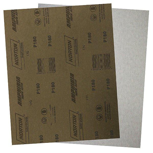 Pacote com 200 Folha de Lixa A319 Amphibia Grão 180 230 x 280 mm