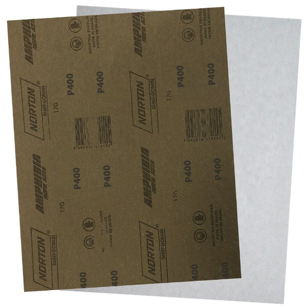 Folha de Lixa A319 Amphibia Grão 400 230 x 280 mm Pacote com 200