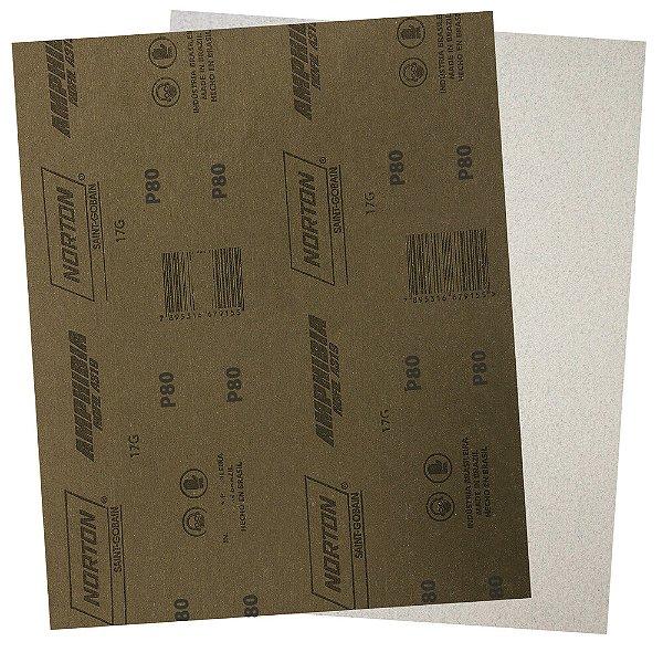 Pacote com 200 Folha de Lixa A319 Amphibia Grão 80 230 x 280 mm