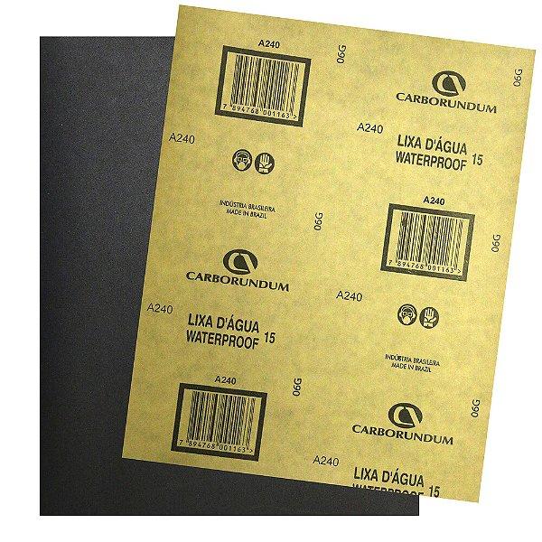 Pacote com 500 Folha de Lixa D'água CAR15 Grão 240 225 x 275 mm
