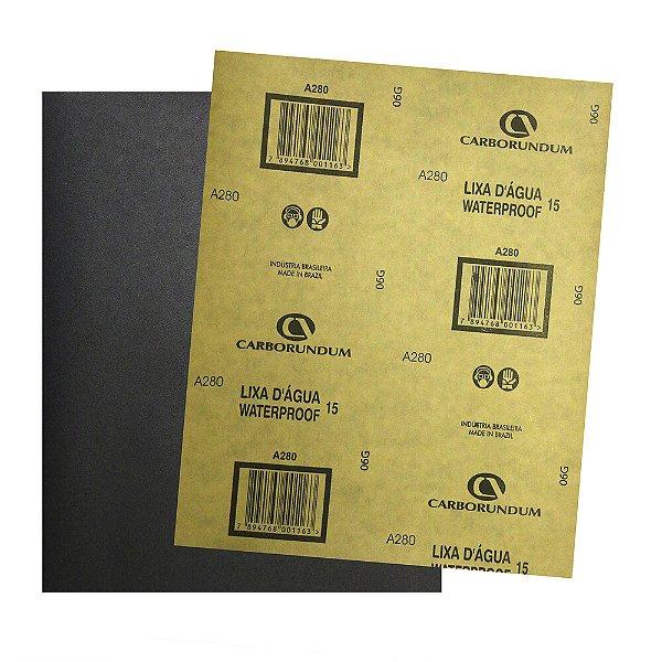 Pacote com 500 Folha de Lixa D'água CAR15 Grão 280 225 x 275 mm