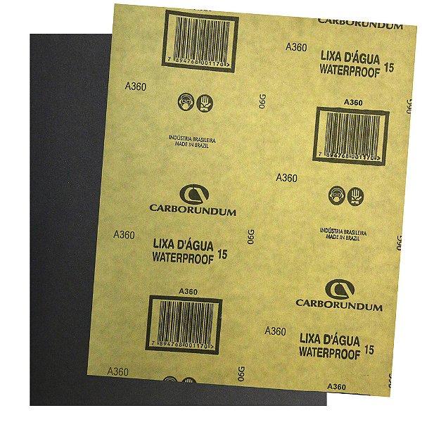 Folha de Lixa D'água CAR15 Grão 360 225 x 275 mm Pacote com 500