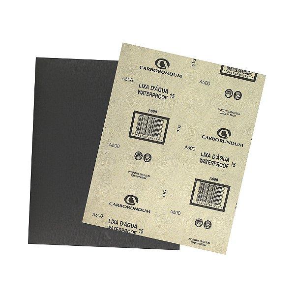 Folha de Lixa D'água CAR15 Grão 600 225 x 275 mm Pacote com 500