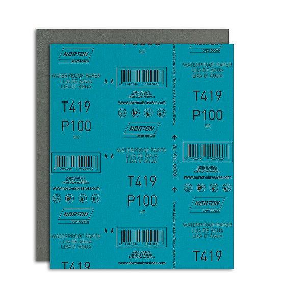 Folha de Lixa D'Água Microfina T419 Grão 100 230 x 280 mm Pacote com 200