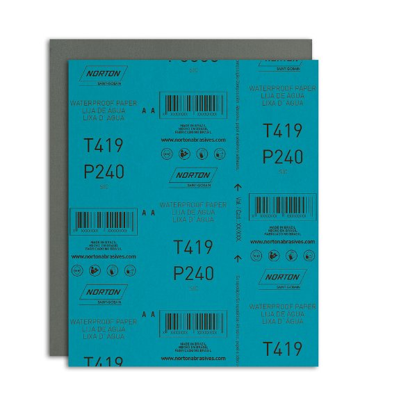 Pacote com 200 Folha de Lixa D'Água Microfina T419 Grão 240 230 x 280 mm