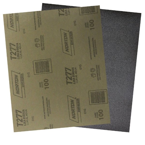 Pacote com 200 Folha de Lixa D'Água NorClass T277 Grão 100 230 x 280 mm