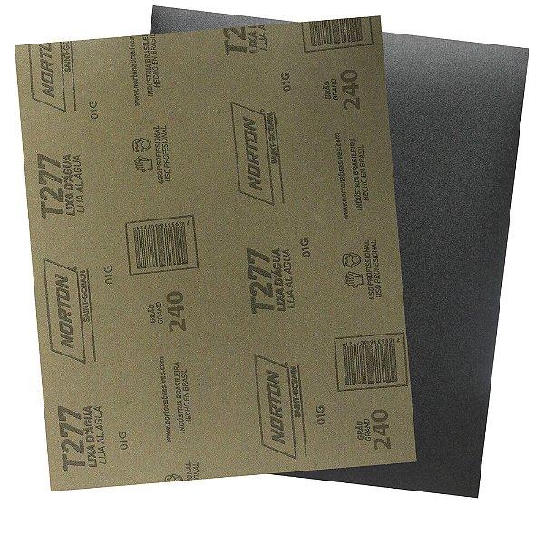 Pacote com 200 Folha de Lixa D'Água NorClass T277 Grão 240 230 x 280 mm