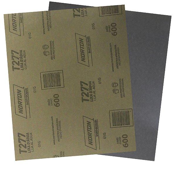 Pacote com 200 Folha de Lixa D'Água NorClass T277 Grão 600 230 x 280 mm