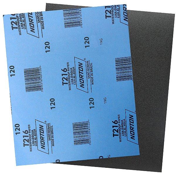 Folha de Lixa D'Água Norflex T216 Grão 120 230 x 280 mm Pacote com 200
