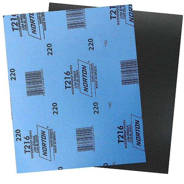Pacote com 200 Folha de Lixa D'Água Norflex T216 Grão 220 230 x 280 mm