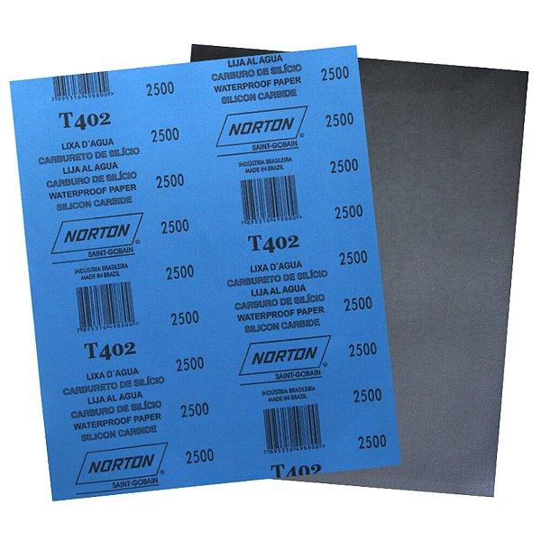 Folha de Lixa D'Água T402 Grão 2500 230 x 280 mm Pacote com 200