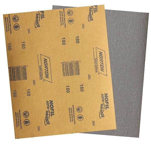 Pacote com 500 Folha de Lixa Laca e Verniz A219 Nofil Grão 180 225 x 275 mm
