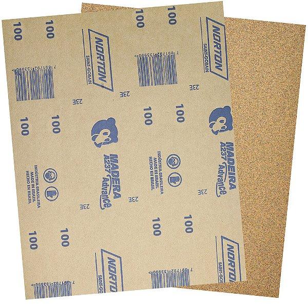Pacote com 500 Folha de Lixa Madeira e Massa Ursinho A237 Grão 100 225 x 275 mm