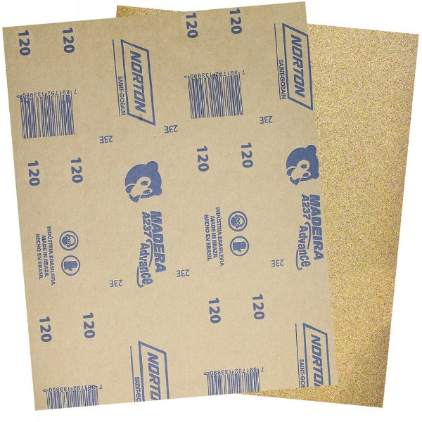 Pacote com 500 Folha de Lixa Madeira e Massa Ursinho A237 Grão 120 225 x 275 mm