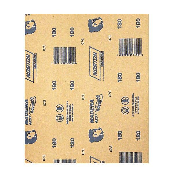Pacote com 500 Folha de Lixa Madeira e Massa Ursinho A237 Grão 180 225 x 275 mm