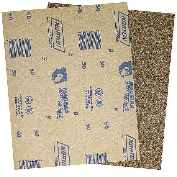 Pacote com 500 Folha de Lixa Madeira e Massa Ursinho A237 Grão 50 225 x 275 mm