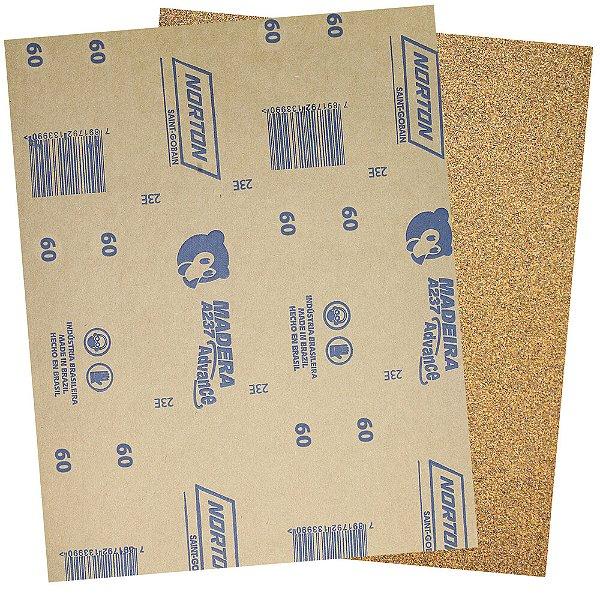 Pacote com 500 Folha de Lixa Madeira e Massa Ursinho A237 Grão 60 225 x 275 mm