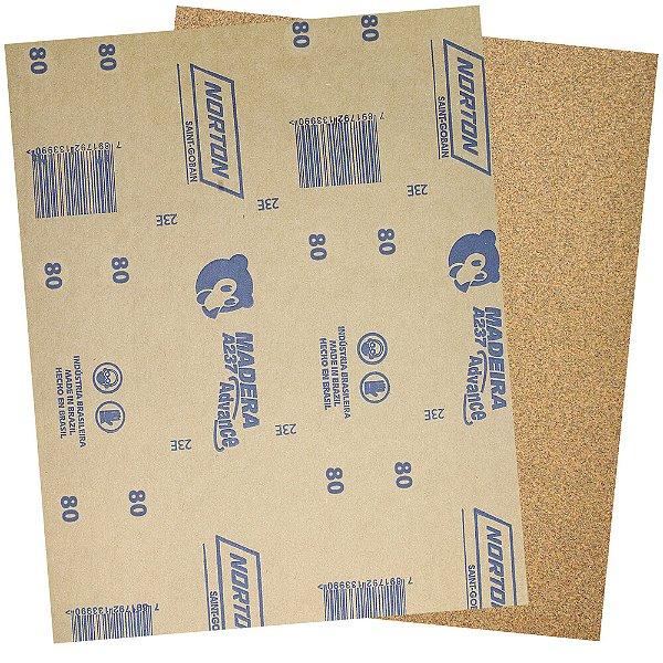 Folha de Lixa Madeira e Massa Ursinho A237 Grão 80 225 x 275 mm Pacote com 500