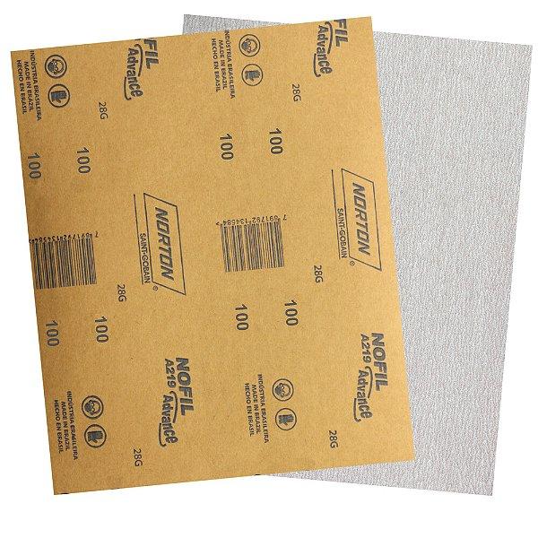 Pacote com 500 Folha de Lixa Madeira Laca e Verniz A219 Nofil Grão 100 225 x 275 mm
