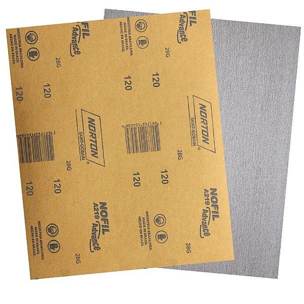 Pacote com 500 Folha de Lixa Madeira Laca e Verniz A219 Nofil Grão 120 225 x 275 mm