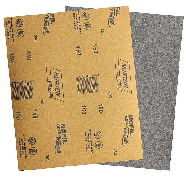 Pacote com 500 Folha de Lixa Madeira Laca e Verniz A219 Nofil Grão 150 225 x 275 mm