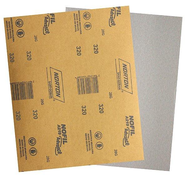 Pacote com 500 Folha de Lixa Madeira Laca e Verniz A219 Nofil Grão 320 225 x 275 mm