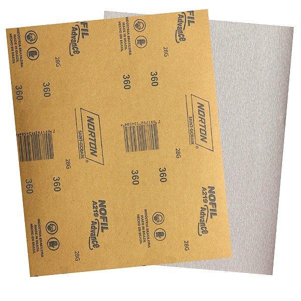 Pacote com 500 Folha de Lixa Madeira Laca e Verniz A219 Nofil Grão 360 225 x 275 mm
