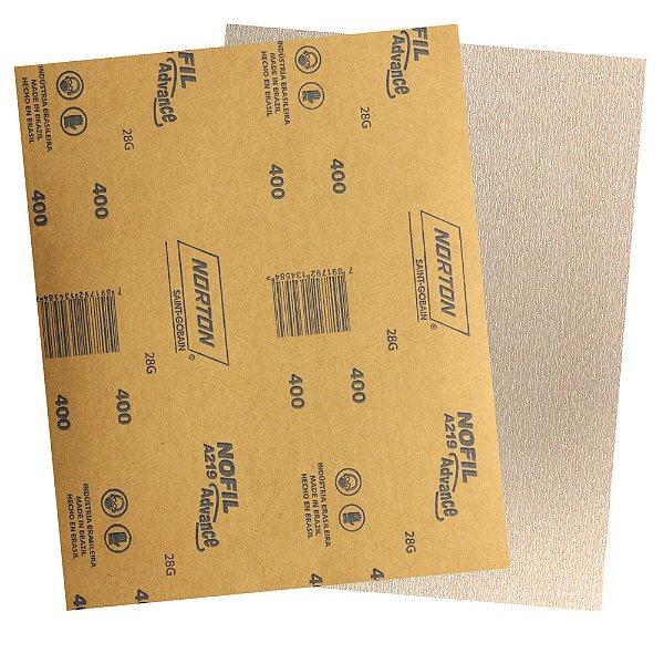 Pacote com 500 Folha de Lixa Madeira Laca e Verniz A219 Nofil Grão 400 225 x 275 mm