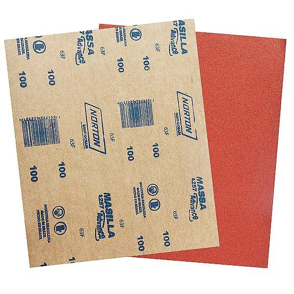 Pacote com 500 Folha de Lixa Massa Advance A257 Grão 100 225 x 275 mm