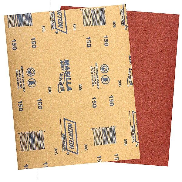 Pacote com 500 Folha de Lixa Massa Advance A257 Grão 150 225 x 275