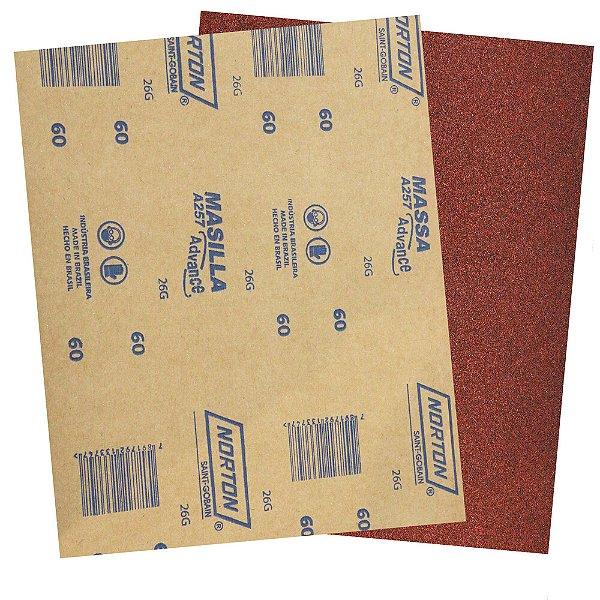 Pacote com 500 Folha de Lixa Massa Advance A257 Grão 60 225 x 275 mm