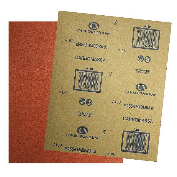 Pacote com 500 Folha de Lixa Massa e Madeira CAR03 Grão 180 225 x 275 mm