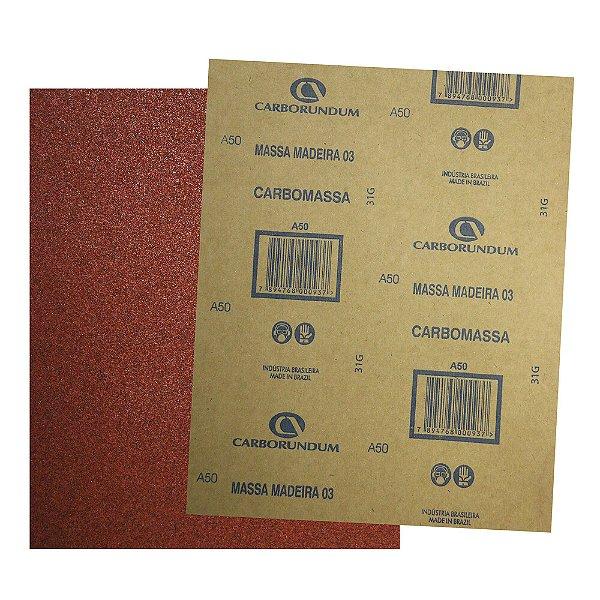 Pacote com 200 Folha de Lixa Massa e Madeira CAR03 Grão 50 225 x 275 mm