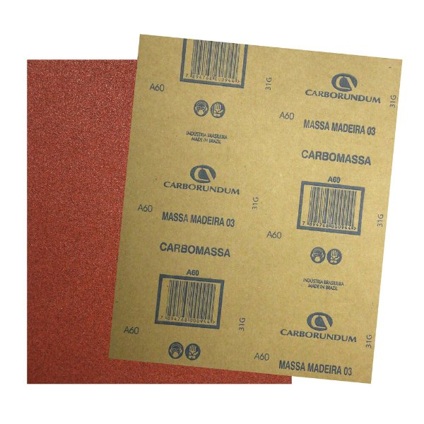 Pacote com 500 Folha de Lixa Massa e Madeira CAR03 Grão 60 225 x 275 mm