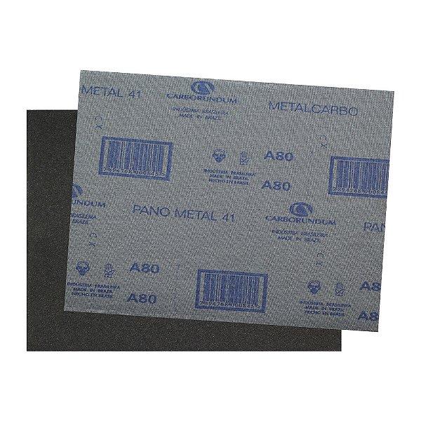 Pacote com 200 Folha de Lixa Pano Metal CAR41 Grão 80 225 x 275 mm