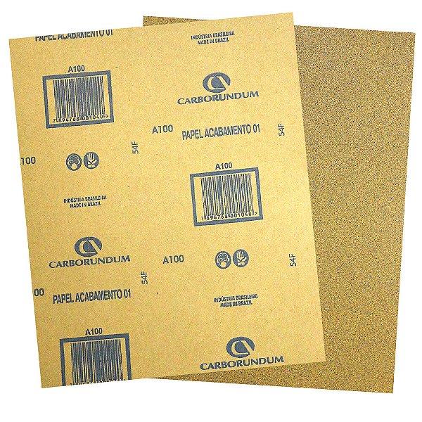 Pacote com 500 Folha de Lixa Papel Acabamento CAR01 Grão 100 225 x 275 mm