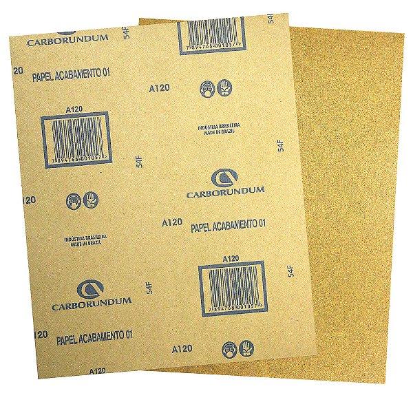 Folha de Lixa Papel Acabamento CAR01 Grão 120 225 x 275 mm Pacote com 500