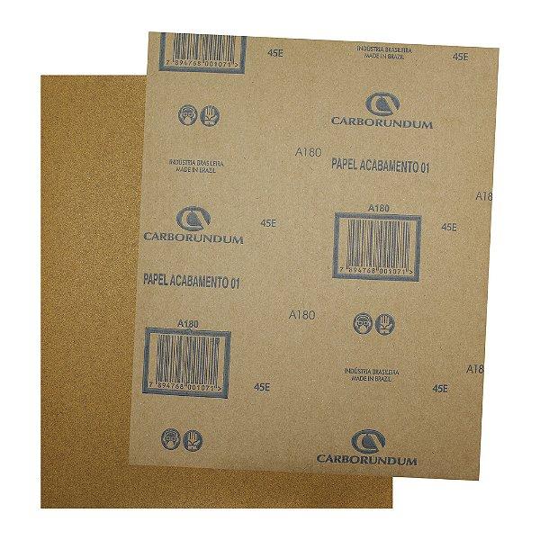 Pacote com 500 Folha de Lixa Papel Acabamento CAR01 Grão 180 225 x 275 mm