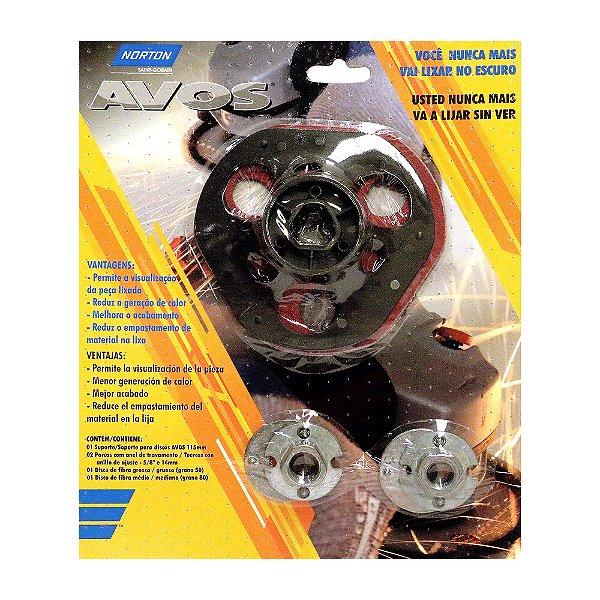 Caixa com 5 Kit Avos - Suporte de Disco Avos e Discos Avos Grãos 50 e 80 115 x 22 mm