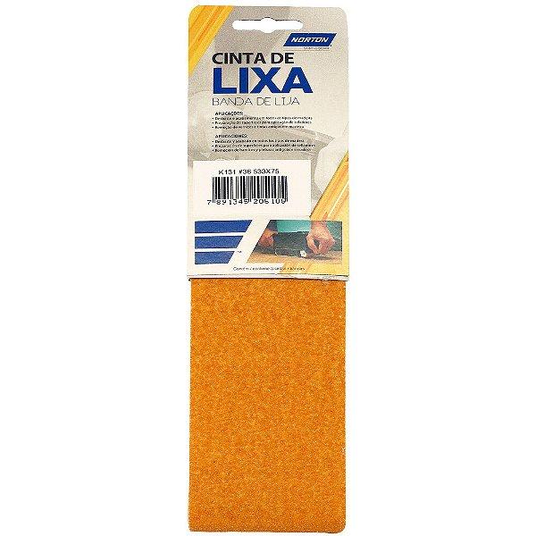 Caixa com 10 Kit Cinta de Lixa Estreita K131 Adalox Pano Grão 36 533 x 75 mm