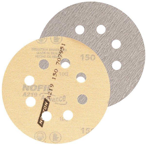 Caixa com 20 Kit Disco de Lixa Pluma A219 com 8 Furos Grão 150 5 Pçs 127 mm